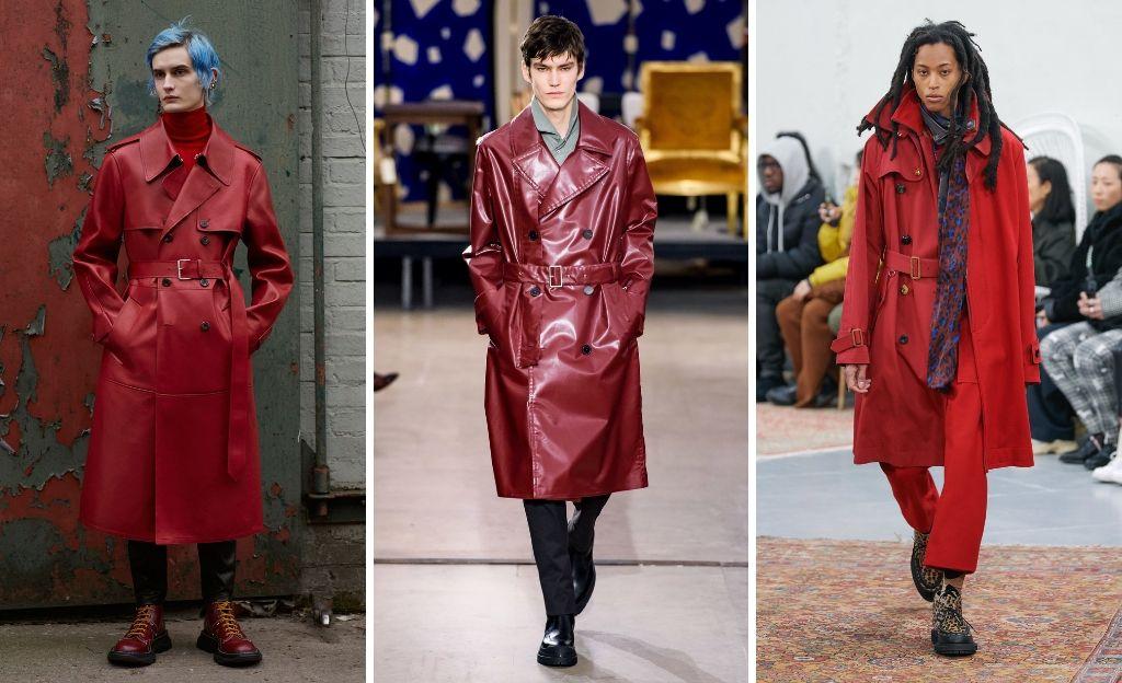 Trench rojo: Tendencia Menswear FW19. @AlexanderMcQueen @Hermès @Sacai